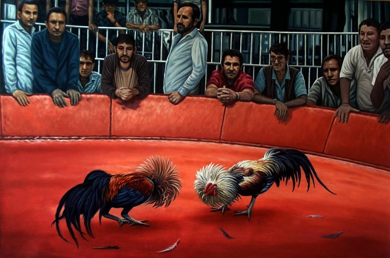 Gallos y galleros, óleo sobre lienzo, 90 x 130 cm. Denis