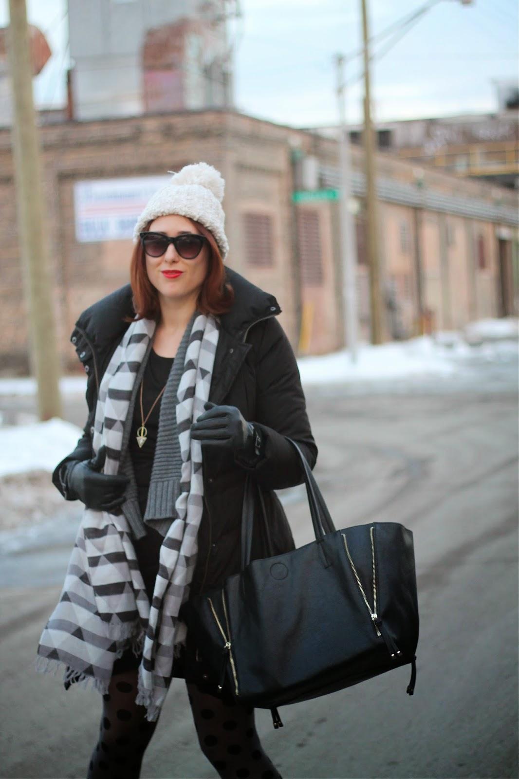 black, puffer, coat