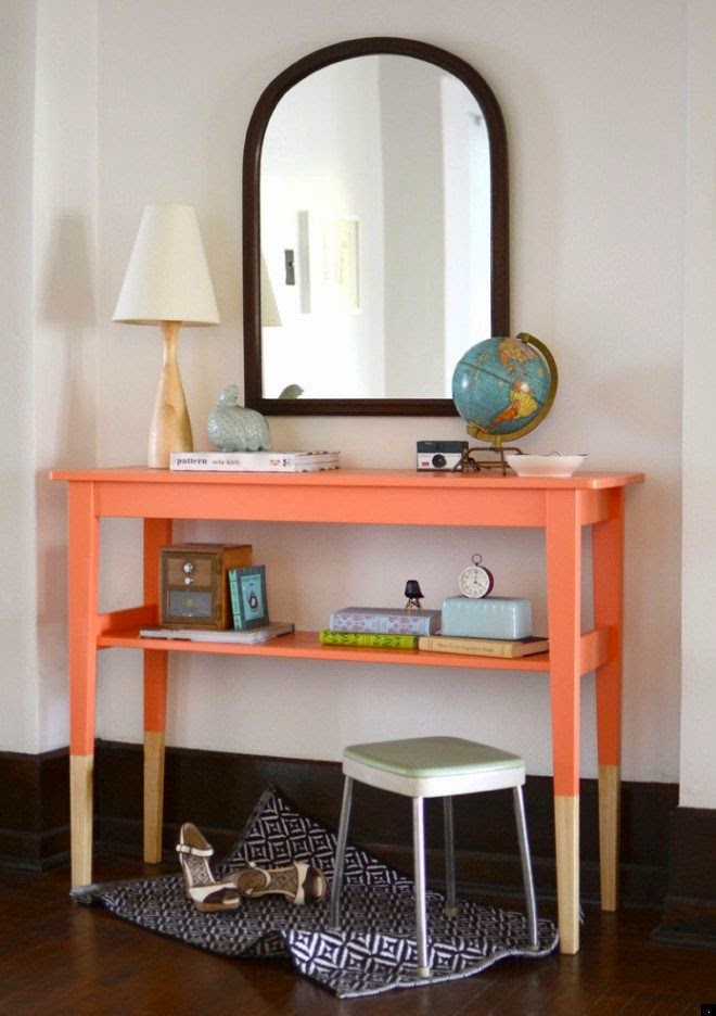 DIY consola mesa en color salmon