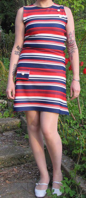 Striped mod dress sewing sew vintage 60s 1960 red white blue 60s Striped mod dress 1960 red white blue sew sewing pattern