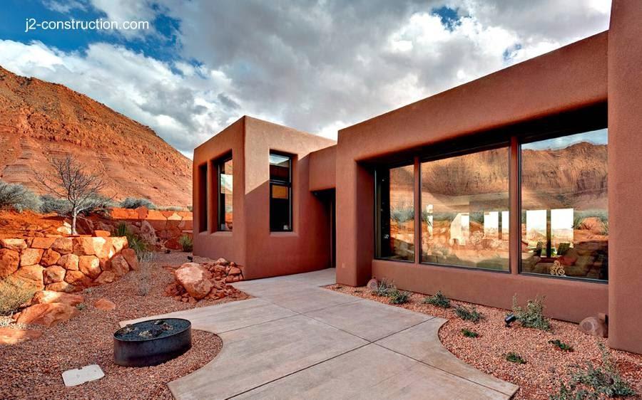 Arquitectura de casas moderna residencia de adobe en for Construcciones modernas