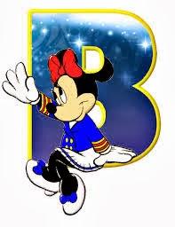 Alfabeto de personajes Disney con letras grandes B Minnie pequeña.