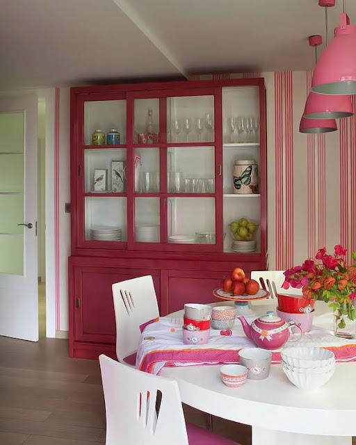Cocina decorada en rosa