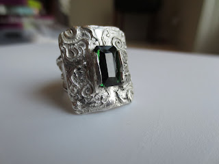 metal clay ring with 3 carat green tourmaline ring, ready to wear!