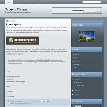 Project Mania blogger template. personal template blog