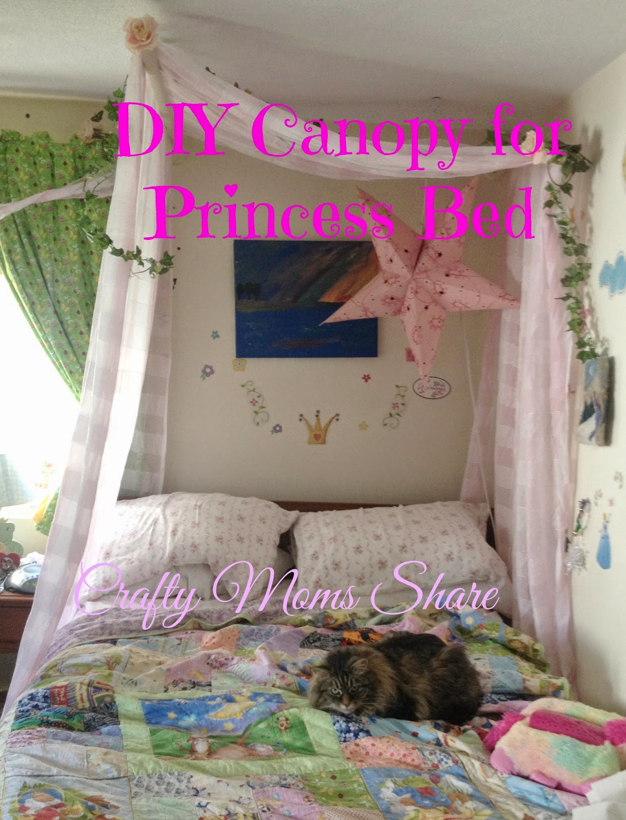 crafty moms share diy canopy for a princess bed. Black Bedroom Furniture Sets. Home Design Ideas