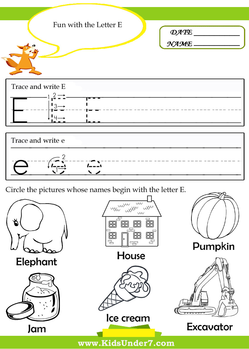 Printable letter E tracing worksheets for preschool - Printable ...
