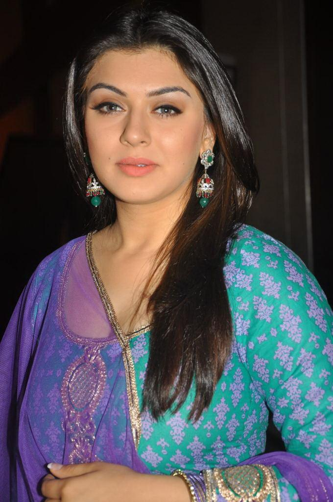 Actress Hansika Motwani Hot And Sexy Images In The Blue Chudithar Showing Her CLeavage And Boobs Closeup