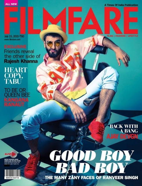Ranveer Singh on cover page of Filmfare Magazine July 2015