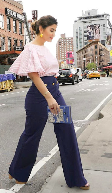 lia pellerano nyfw15 70's vibe outfit off the shoulder top