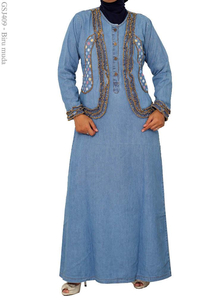 Gamis Jeans Over All Gsj409 Busana Muslim Murah Terbaru