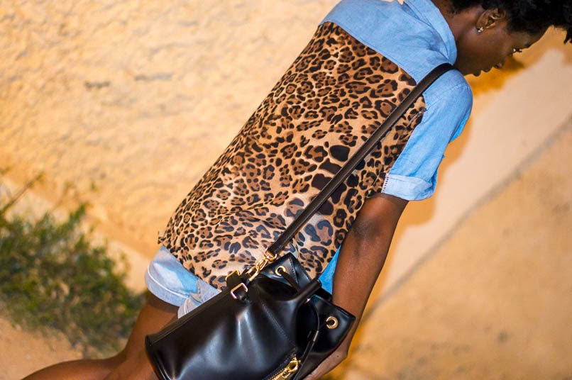 denim and denim, leopard denim shirt, shorts, cork sandal, zara long strap bags, travelled to Tuscany