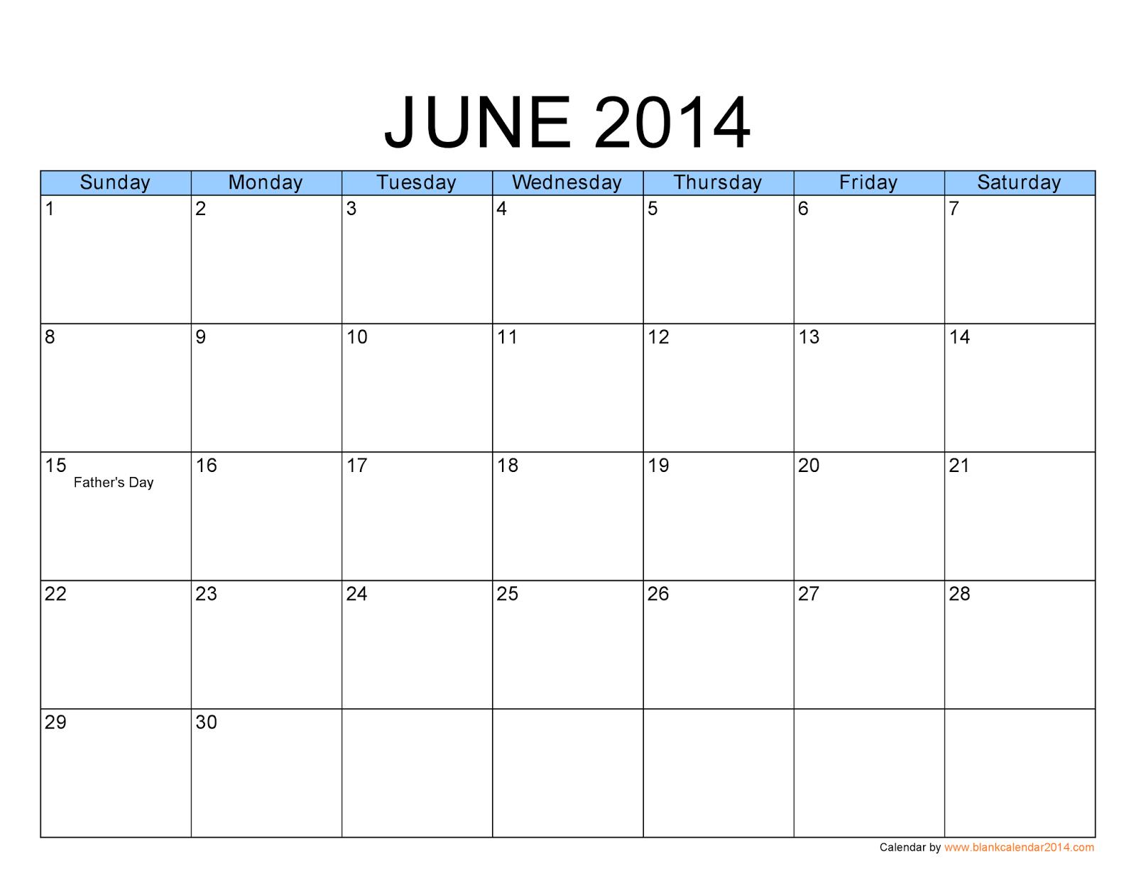 June Calendar : Free printable calendar june