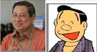 foto gambar lucu sby mirip bapak nobita di doraemon