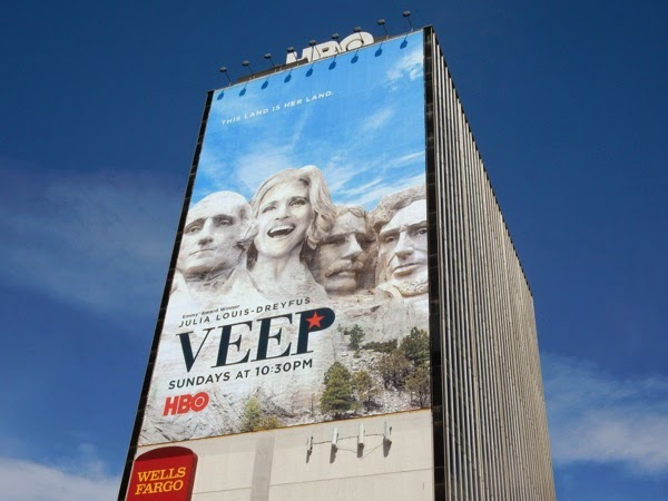 Giant Veep Mount Rushmore parody season 4 billboard