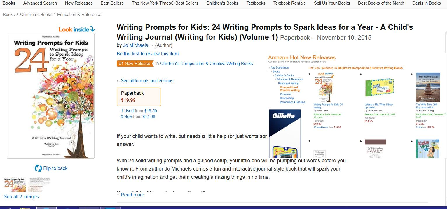 Writing Prompts for Kids hit #1 New Release status. Here are the details  for that book: