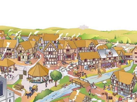 Recreación ciudad en la Edad Media.