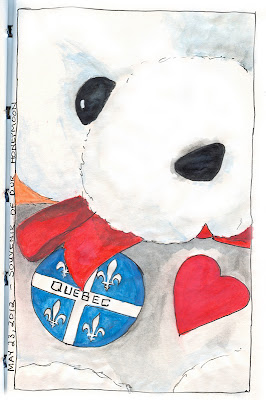 Heart Teddy Bear wearing a Quebec Souvenir Pin drawing by © Ana Tirolese