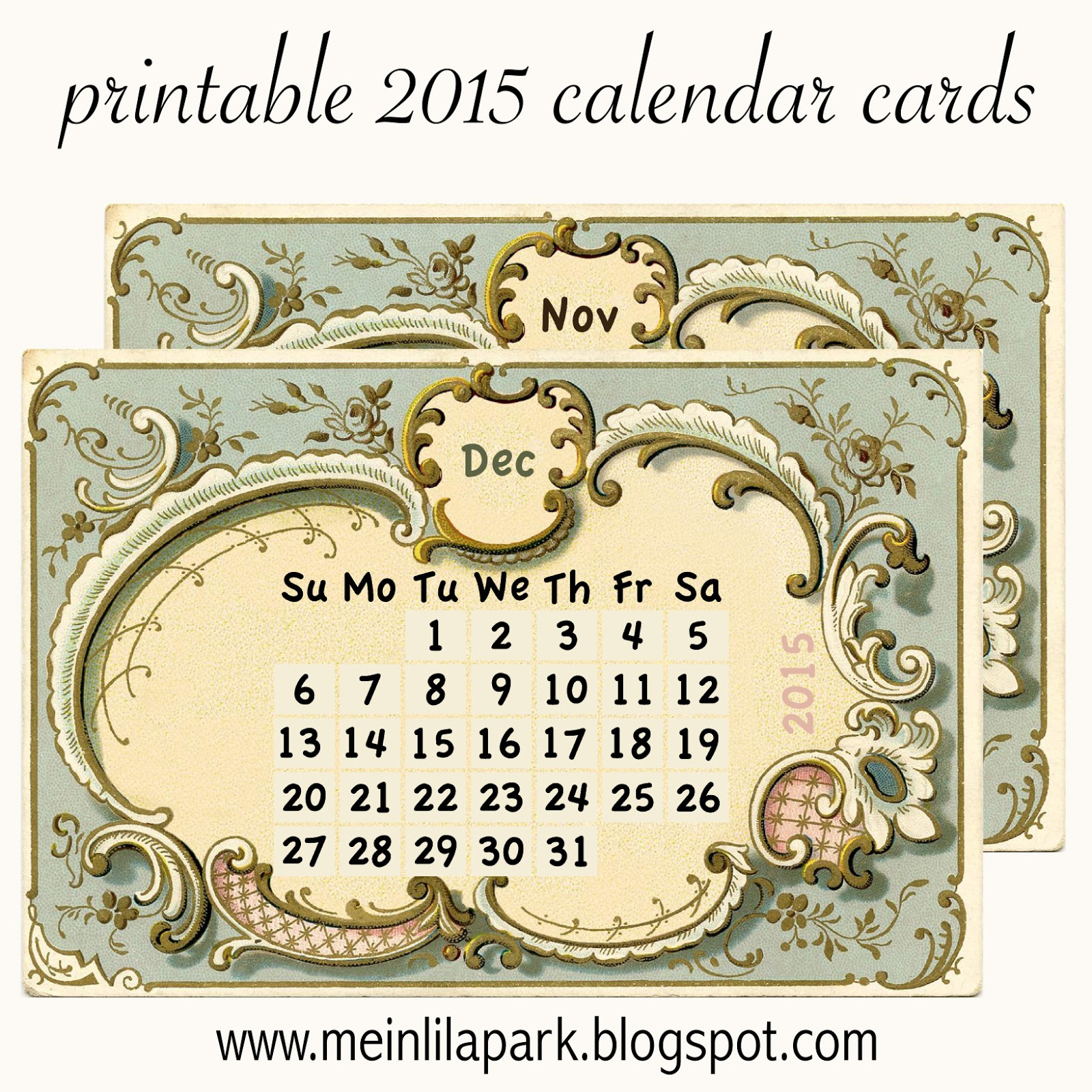 Calendar Cards Printables : Free printable calendar cards part