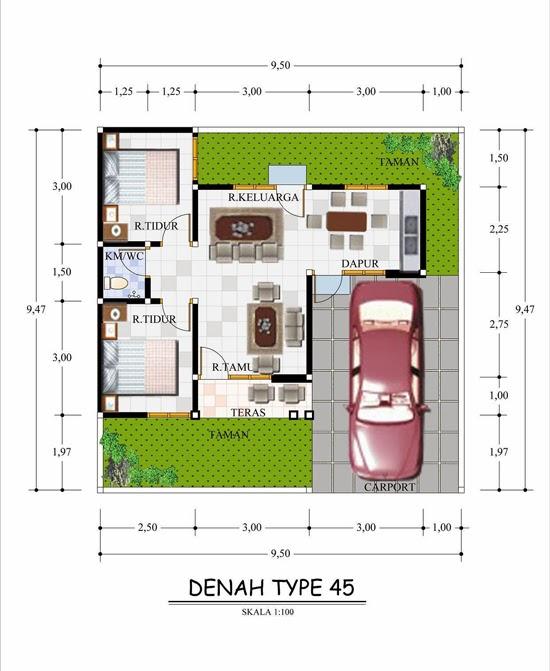 Denah Rumah Type 45 90 Komplit Model Desain Rumah Minimalis Type 45