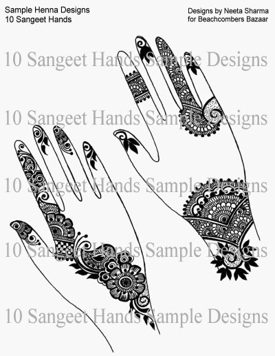 Samples of 10 Sangeet Hands Henna Design eBook