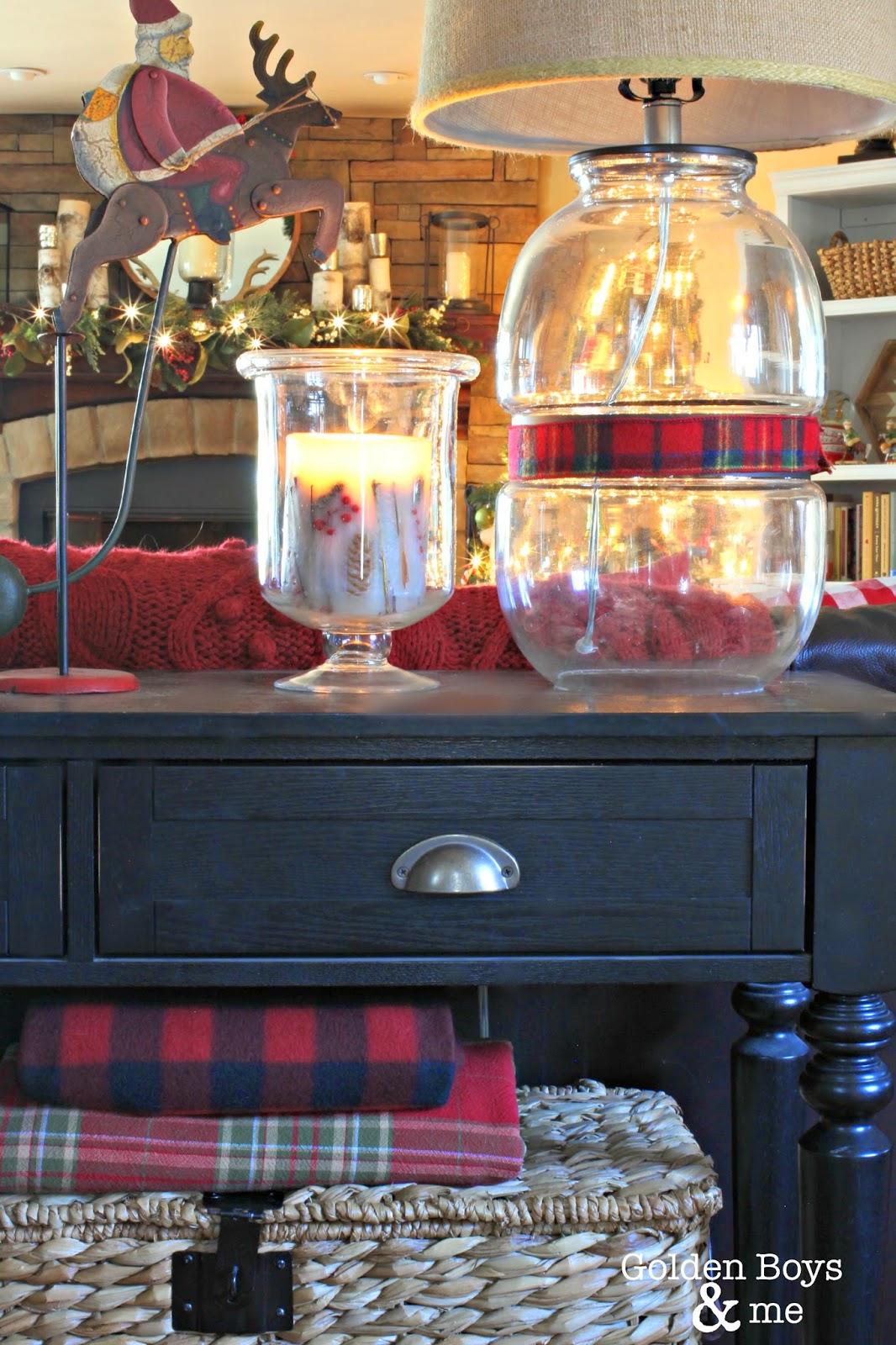 Target Threshold lamp in rustic Christmas family room-www.goldenboysandme.com