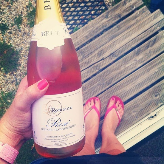 A bottle of sparkling rosé from the local vineyard to celebrate turning 22