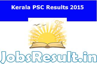 Kerala PSC Results 2015