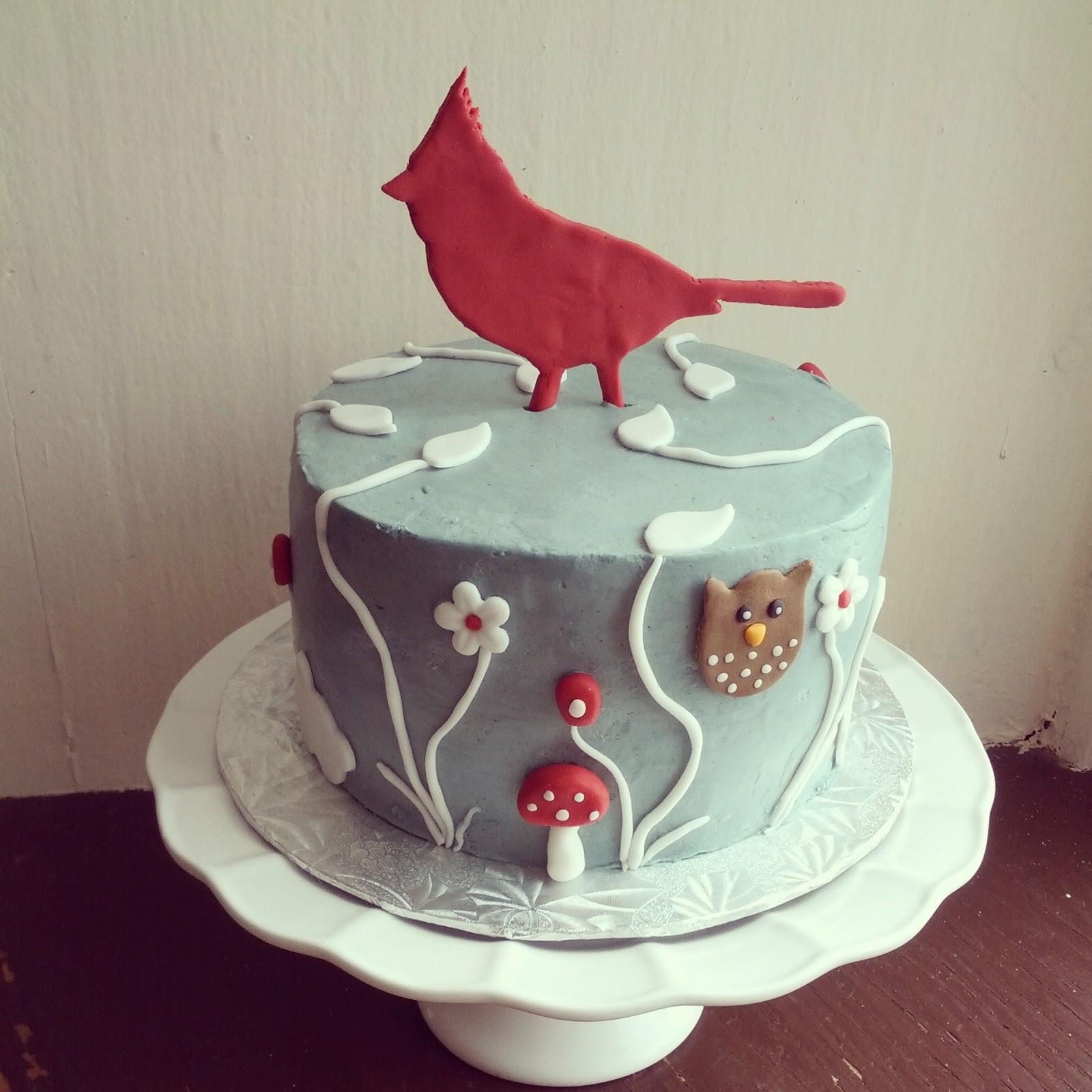 Second Generation Cake Design Red Cardinal Nature Birthday Cake