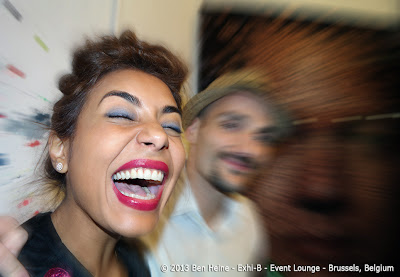 Najwa Borro big smile and Ben Heine at Exhi-B at The Event Lounge - Brussels, Belgium - October 2013
