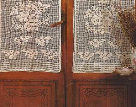 """Cortina a Crochet """"Ramos de Flores"""""""