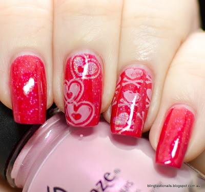 piCture pOlish o'hara with pink hearts stamping