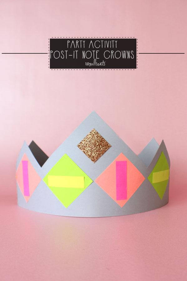 card crowns decorated with cut up post-it notes