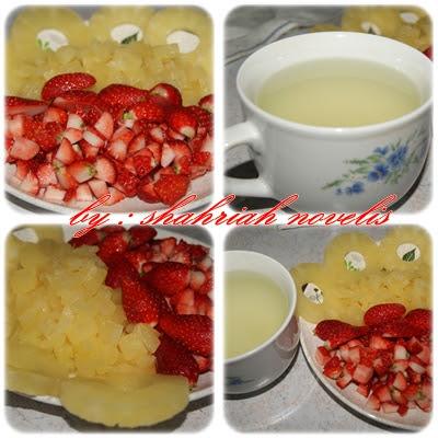 12 biji buah strawberry masak ranum ~ potong dadu 1 tin nenas ~ potong ...