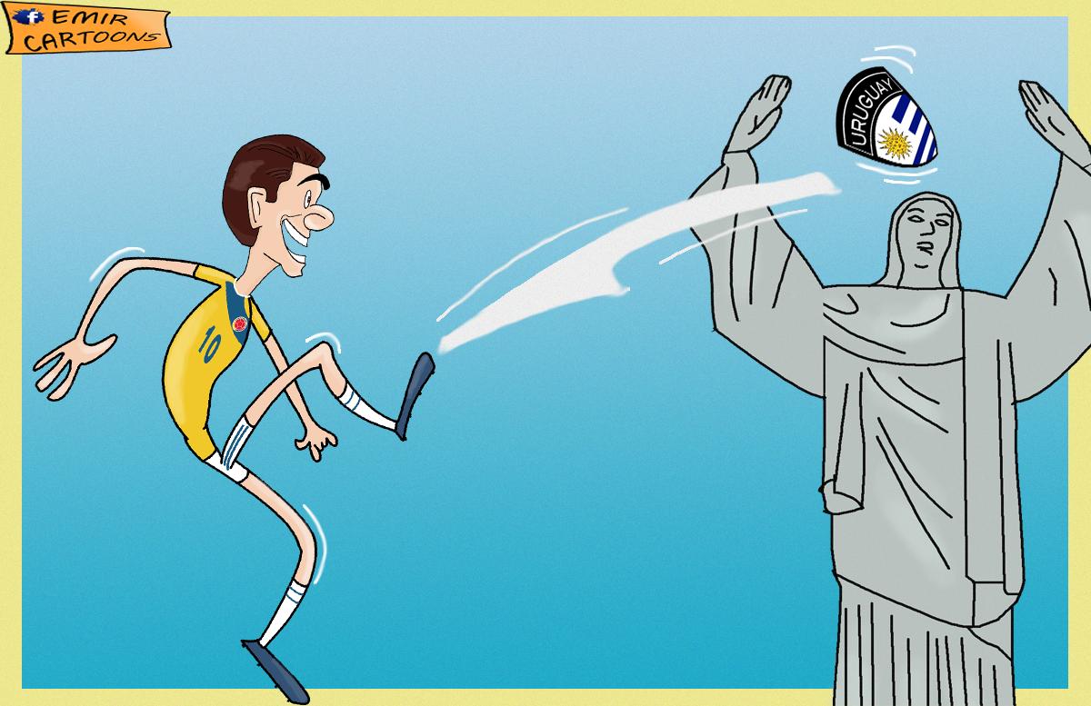 James Rodriguez, Urugvaj,Kolumbija, Mundijal, Svjetsko Prvenstvo, Brazil, fudbal karikature, karikatura dana,emir cartoons,