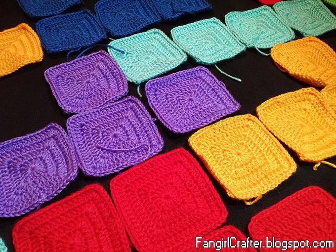 Granny square crochet Tetris afghan