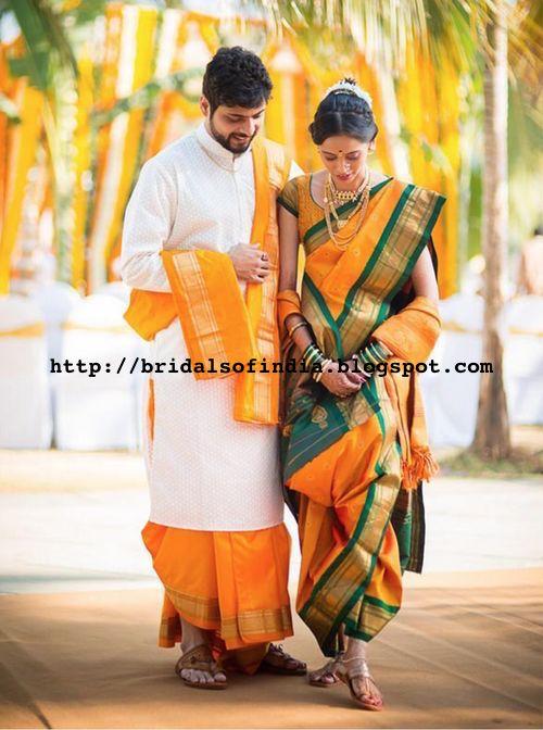 Fashion World Marathi Bride With Bridegroom On Yellow Nauvari Saree Bridal saree is the biggest lavish affair for every indian bride. fashion world blogger