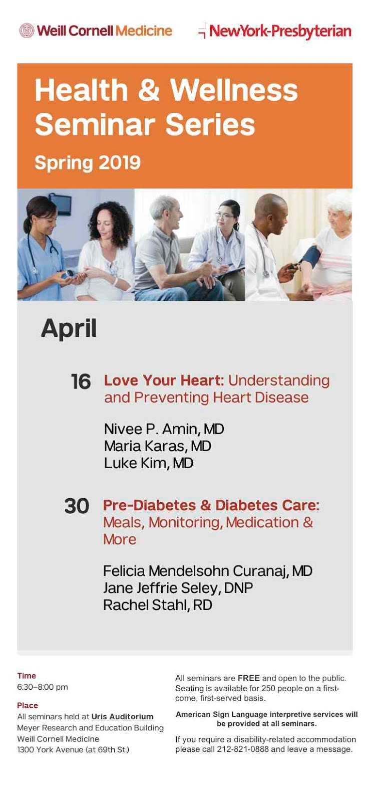 You're Invited To Weill Cornell Medicine/NY Presbyterian Spring 2019 Health & Wellness Seminars