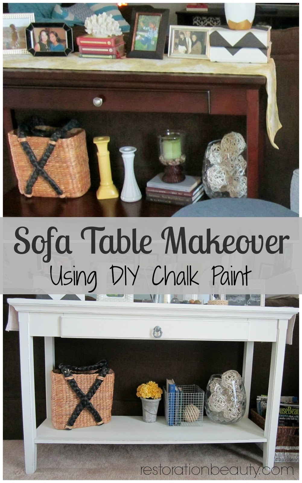 Restoration beauty sofa table makeover using diy chalk paint for Diy chalk paint problems