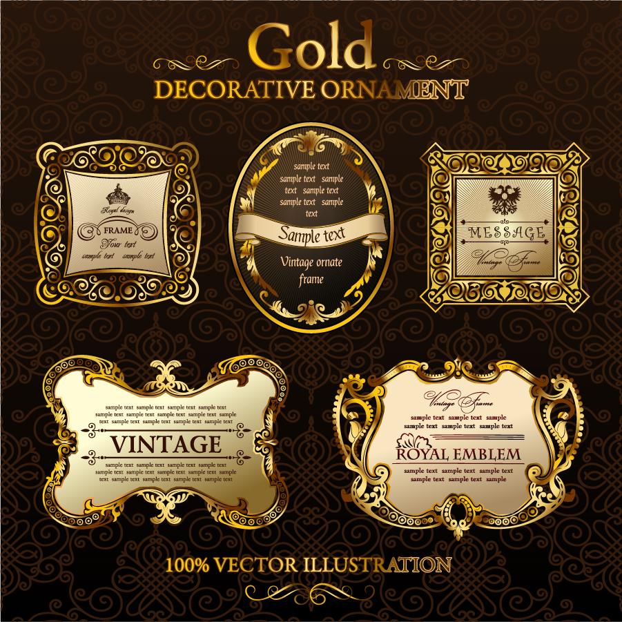 豪華な金色のボトルラベル見本 gold classic pattern bottle marked イラスト素材