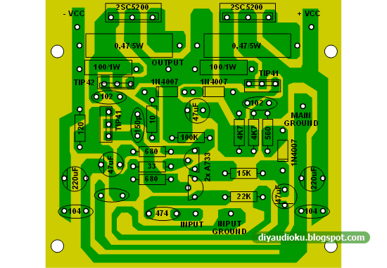 PCB dan Layout Komponen Power Amplifier 100 Watt