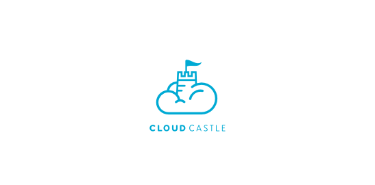 Cloud Castle Flat Logo Design