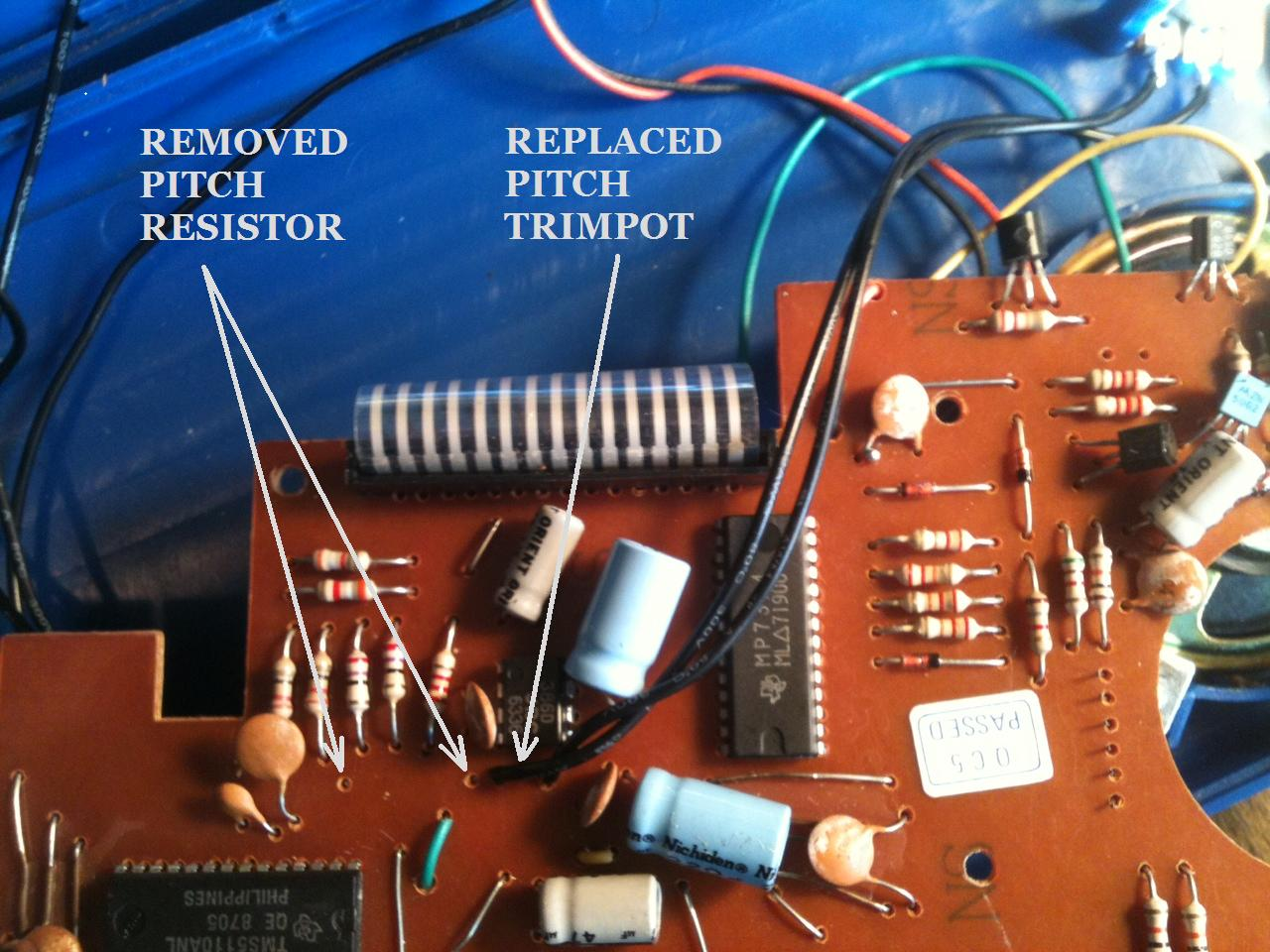 Carrion Luggage Coleco Talking Teacher Trim Pot Wiring Diagram Originally I Just Removed The Pitch Trimpot And Replaced It With A 100k Range Was Okay But Removing Resistor Next To Really