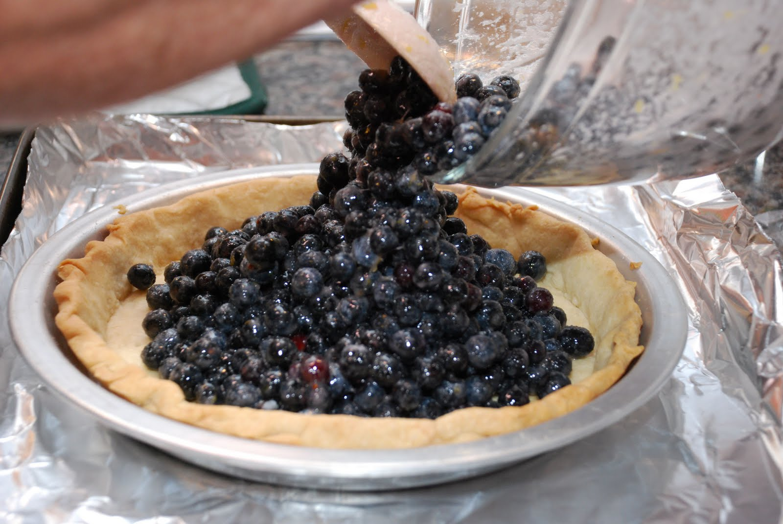 He tackled a blueberry crumble pie for our Sunday Supper.