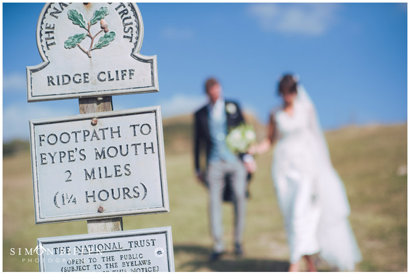 Bride and Groom portrait footpath Dorset