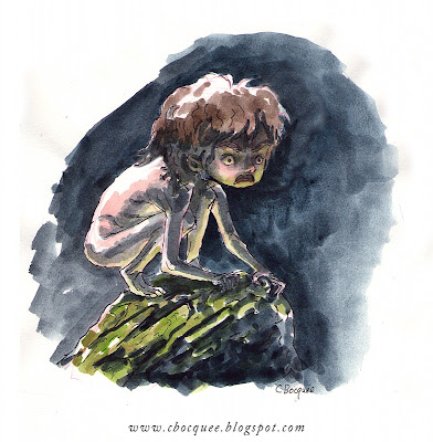 watercolour concept art of a feral wolf child character