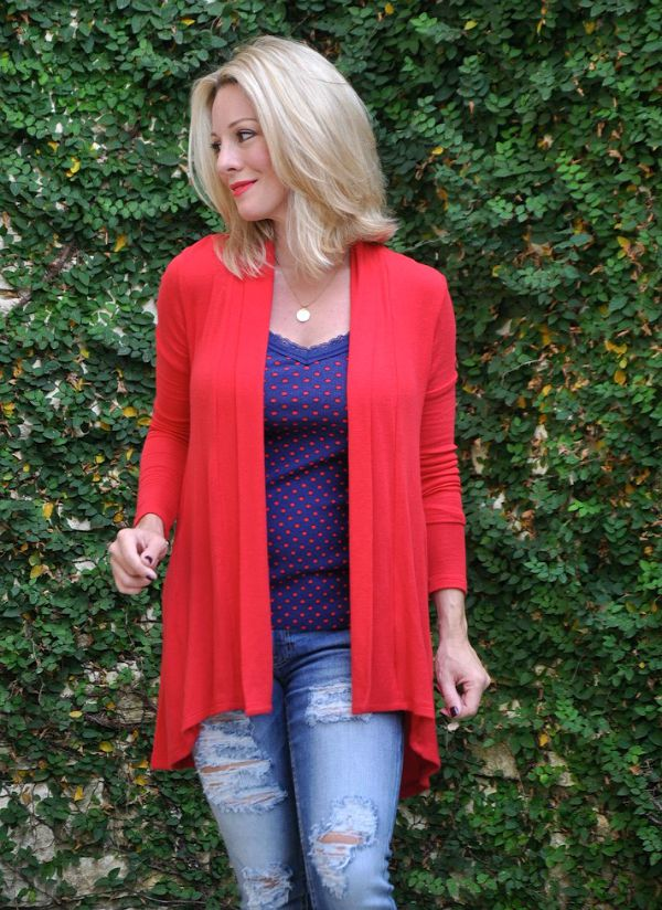 Bobeau Red Cardigan