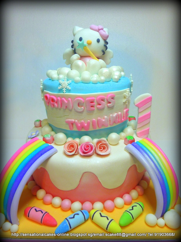 The Sensational Cakes HELLO KITTY 2 TIER CAKE SINGAPORE RAINBOW