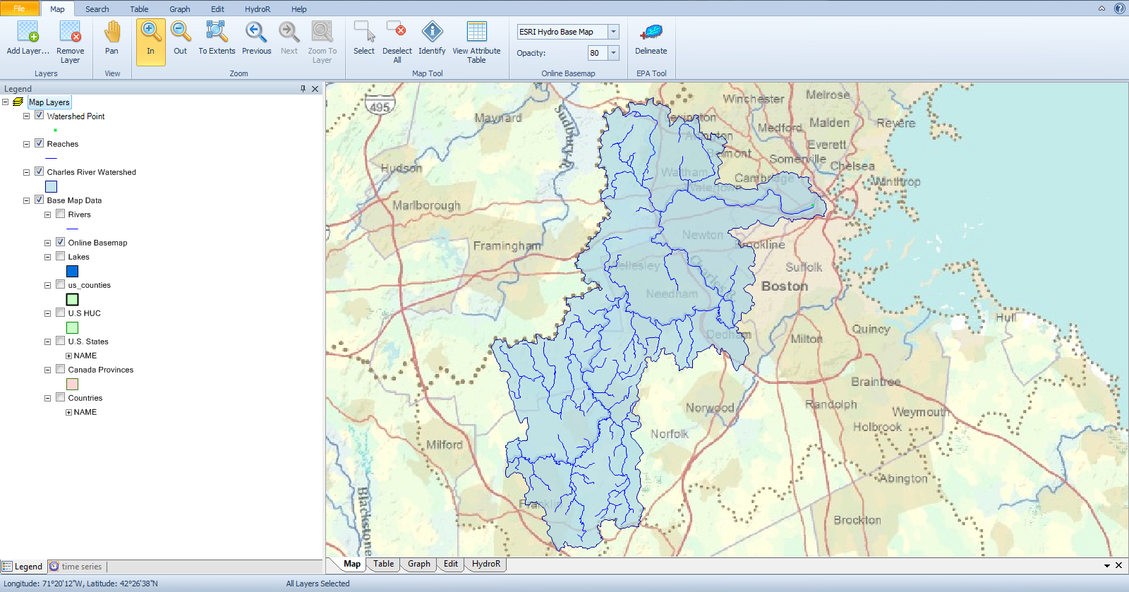 to activate the watershed polygon for use in searching for data 1 simply click to highlight the layer in the legend and 2 use the select features tool