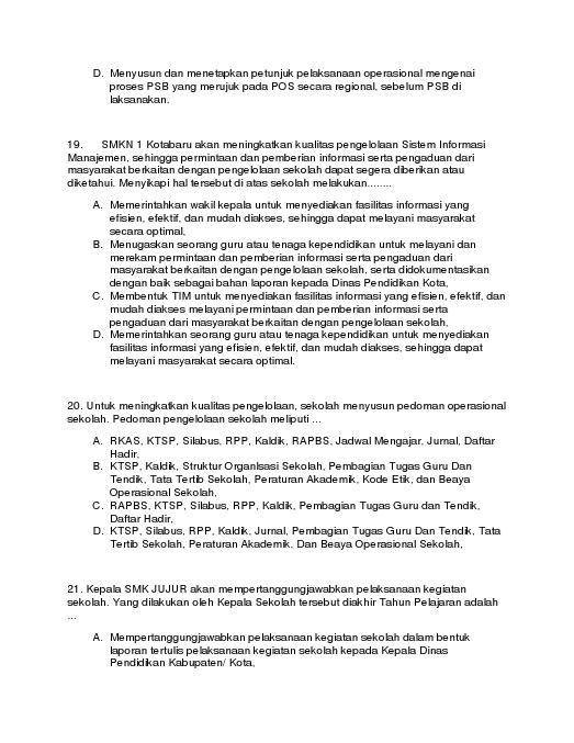 Sertifikasi Contoh Soal Uji Kompetensi Kepala Sekolah Tahun 2012